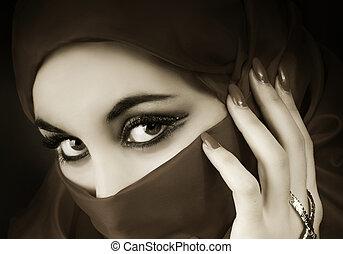 porträt, von, a, junger, arabisch, moslem, m�dchen