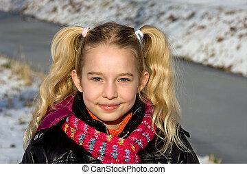 porträt, von, a, junger, blond, m�dchen