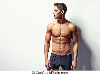 porträt, von, a, junger, sexy, muskulös, mann