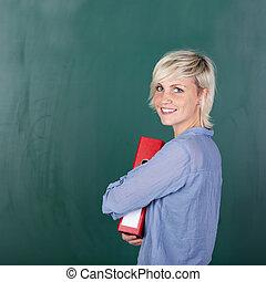 porträt, von, a, junger, weiblicher student