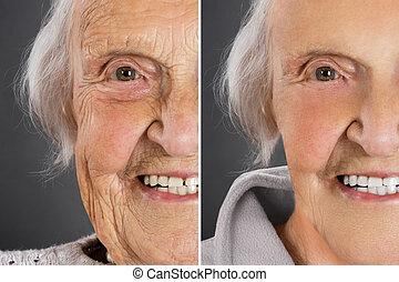 porträt, von, a, lächeln, alte frau