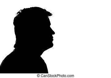 porträt, von, a, mann, profil