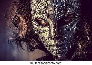 porträt, von, a, mysteriös, mann, in, eisen, mask., steampunk., fantasy., halloween.