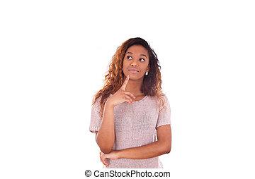 porträt, von, a, nachdenklich, junger, afrikanische amerikanische frau, oben schauen