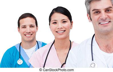 porträt, von, a, positiv, medizinische mannschaft