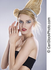 porträt, von, a, reizend, blond