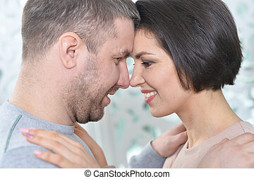 porträt, von, a, schöne , hübsch, ehepaar, aufwirft