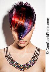 porträt, von, a, schöne , m�dchen, mit, gefärbtes haare,...