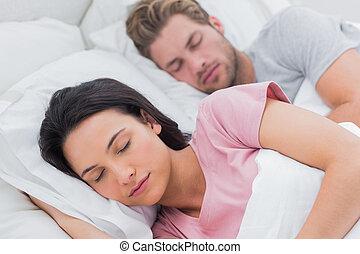 porträt, von, a, schöne , paar, eingeschlafen