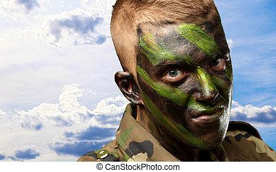 porträt, von, a, soldat, mit, tarnung, gemälde