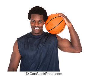porträt, von, afrikanisch, basketballspieler