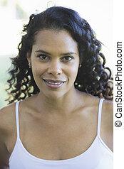 porträt, von, afrikanische amerikanische frau