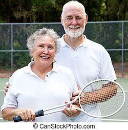porträt, von, aktive senioren