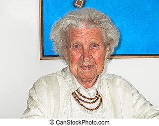 porträt, von, altes , ältere frau