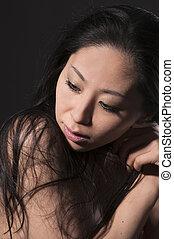 porträt, von, asiatische frau