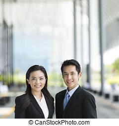 porträt, von, asiatisches geschäft, partners.