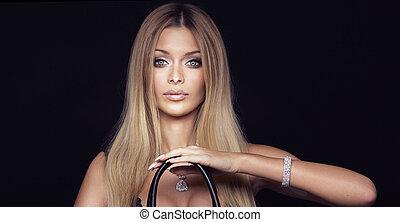 porträt, von, attraktive, blond, woman.