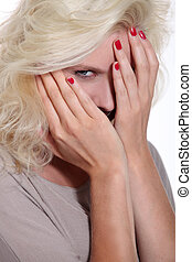 porträt, von, blond, frau