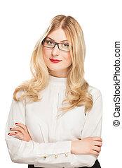 porträt, von, blond, junger, unternehmerin