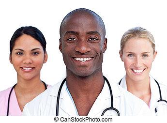 porträt, von, charismatic, medizinische mannschaft
