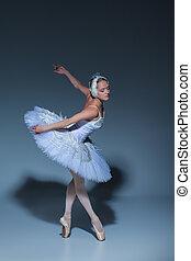 porträt, von, der, ballerina, in, ballett, tatu, auf, blauer...