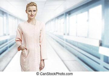 porträt, von, der, blond, assisatnt, in, laboratorium