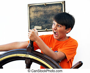 porträt, von, der, junge, auf, der, schiff, besitz, der, lenkrad