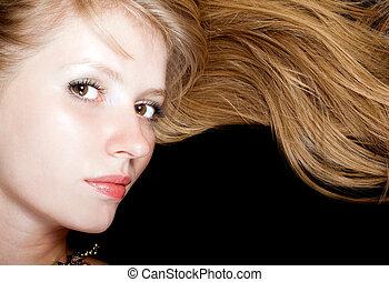 porträt, von, der, junger, schoenheit, blonde., freigestellt