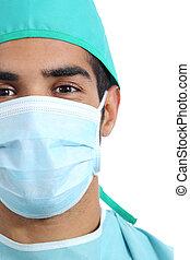 porträt, von, ein, araber, chirurg, doktor, gesicht, mit, maske