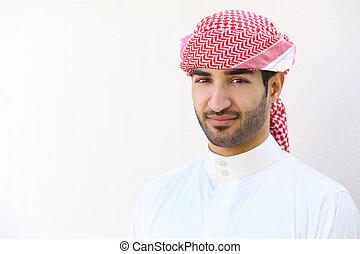 porträt, von, ein, araber, saudiaraber, mann, draußen