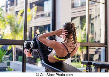 porträt, von, ein, athletische, frau, machen, trainieren,...