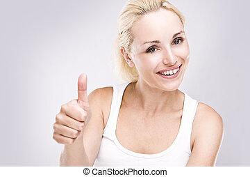 porträt, von, ein, attraktive, junger, weibliche , mit, daumen, auf.