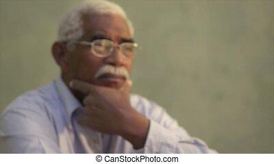 porträt, von, ernst, schwarzer mann