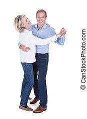 porträt, von, fälliges ehepaar, tanzen
