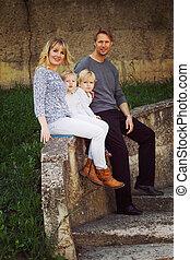 porträt, von, familie gruppe, park