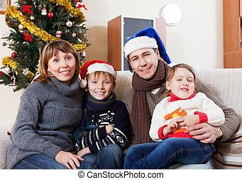 porträt, von, glückliche familie, von, vier