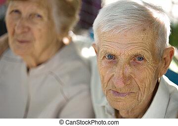 porträt, von, großeltern