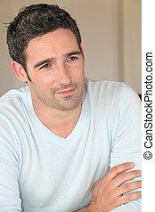 porträt, von, hübsch, 30-year-old, mann