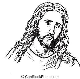 porträt, von, jesus