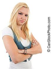 porträt, von, junger, blond, frau, mit, verschränkte arme