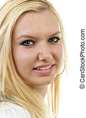 porträt, von, junger, blond, frau