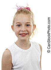 porträt, von, junger, blond, m�dchen