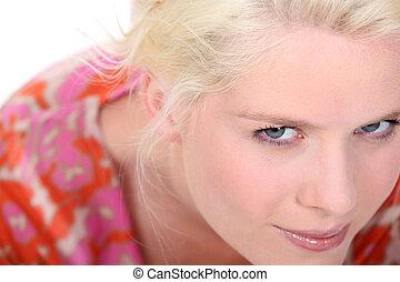 porträt, von, junger, blond