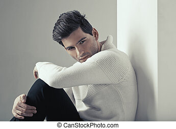 porträt, von, junger, hübsch, mann