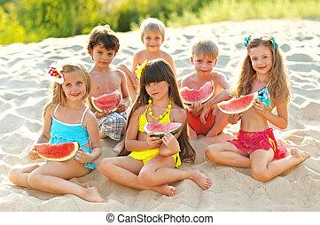 porträt, von, kinder, strand, in, sommer