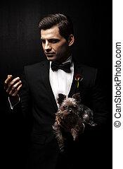 porträt, von, mann, mit, hund, godfather-like, character.