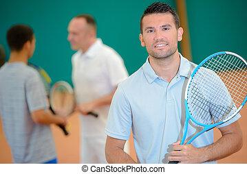porträt, von, mann, tennisspieler