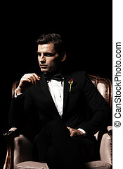 porträt, von, mann, wer, sitzen stuhl, godfather-like, character.