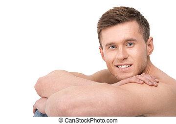 porträt, von, muskulös, anfall, sexy, sportsman., basierend, kopf, muskulös, bloß, hände