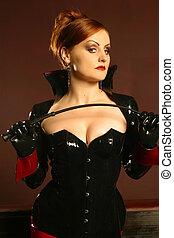 porträt, von, rothaarige, dominatrix